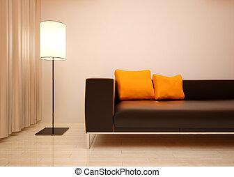interno, vivente, dettaglio, stanza, design.