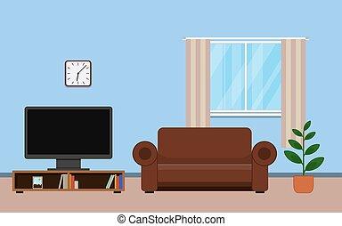 interno, vivente, disegno, stanza, mobilia