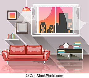 interno, vivente, finestra, stanza
