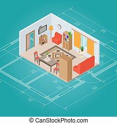 interno, vivente, isometrico, stanza