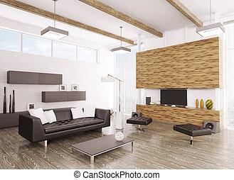 interno, vivente, stanza moderna, 3d