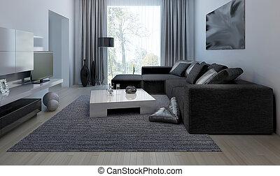 interno, vivente, stanza moderna