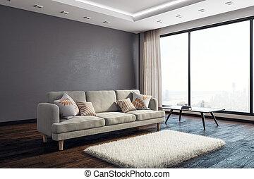 interno, vivente, stanza moderna, copyspace