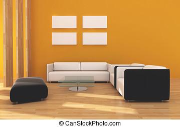 interno, vivente, stanza moderna, forma