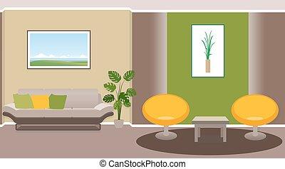 interno, vivente, stanza moderna, mobilia