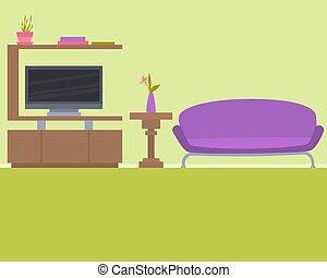 interno, vivente, verde, stanza