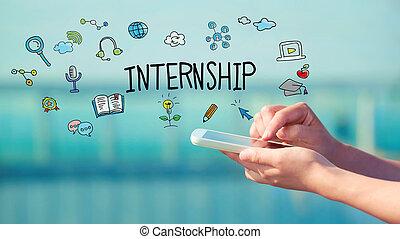internship, concept, smartphone