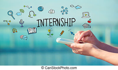 Internship concept with person holding a smartphone