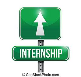 internship, desenho, estrada, ilustração, sinal