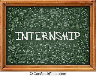internship, doodle, concept., chalkboard., ikony