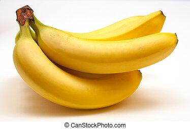 intero, banane, maturo, mazzo