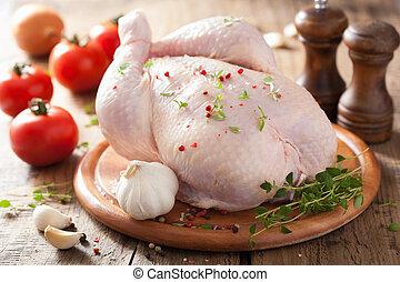 intero, crudo, pollo, con, rosa, pepe, e, timo