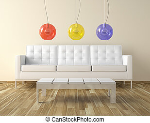 interor room design with colors lamps