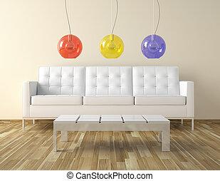 interor, stanza, disegno, con, colori, lampade