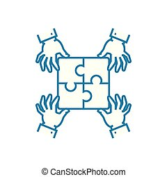 Interpersonal communication linear icon concept....