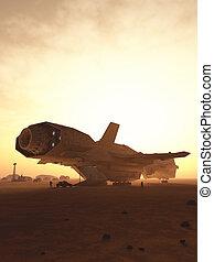 interplanetario, nave espacial, descargar, en, un, desierto, planeta