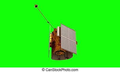 Interplanetary Space Station Deploys Solar Panels. Green Screen.