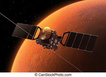 Interplanetary Space Station Orbiting Planet Mars. 3D Scene.