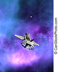 Interplanetary Spaceship Flying Towards a Nebula