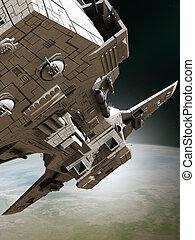 Interplanetary Spaceship Leaving Orbit, Close View - Science...