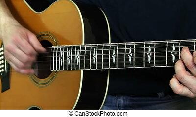 interprète, guitar., guitariste, instrument jouant, mains, acoustique, musical
