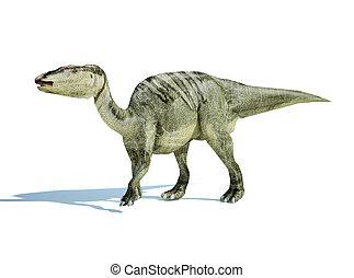 interpretación, 3, edmontosaurus., d, photorealistic