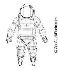 interpretación, 3d, astronauta, vector, concept.