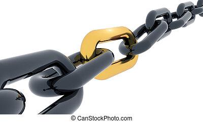 interpretación, 3d, enlace, cadena, dorado