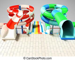 interpretación, barco de cabotaje, atracciones, playa, abajo, cima, sombra, 3d, o, rodillo, derecho, gris, agua, plano de fondo, piscina, manantiales, dos, resbaladeros, tres