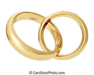interpretación, boda, rings., 3d
