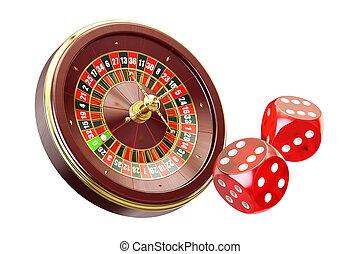 interpretación, concept., casino, 3d, juego