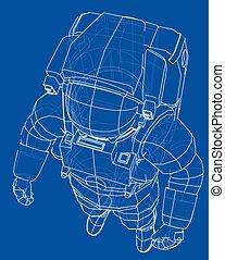 interpretación, concept., vector, astronauta, 3d
