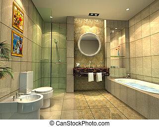 interpretación, cuarto de baño, moderno, 3d