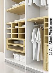 interpretación, dentro, moderno, armario, 3d