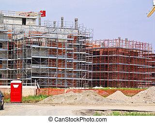 interpretación el sitio, con, grúa, y, edificio