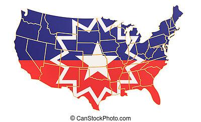 interpretación, estados unidos de américa, juneteenth, mapa, bandera, 3d