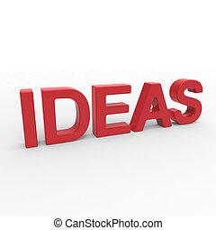 interpretación, -, ideas, palabra, 3d