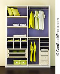 interpretación, moderno, armario, 3d