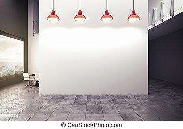 interpretación, moderno, oficina, 3d