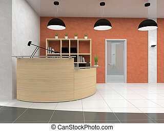 interpretación, moderno, recepción, oficina, 3d