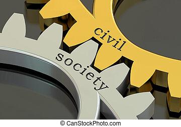 interpretación, sociedad, civil, gearwheels, concepto, 3d