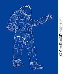 interpretación, vector, astronauta, 3d, concept.