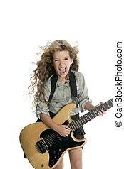 interpretacja, blond, dziewczyna, mały, gitara