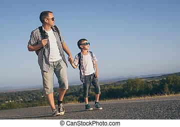 interpretacja, droga, ojciec, syn, dzień, time.