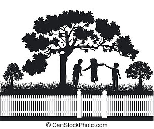 interpretacja, dzieci, ogród