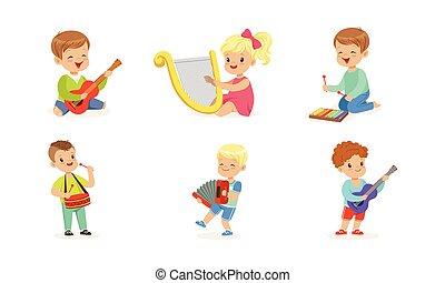 interpretacja, muzyczny, wektor, dzieciaki, komplet, ilustracje, instrumentować, mały