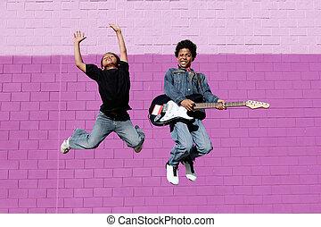 interpretacja, szczęśliwy, muzyka, schodzenie, afrykanin, ...