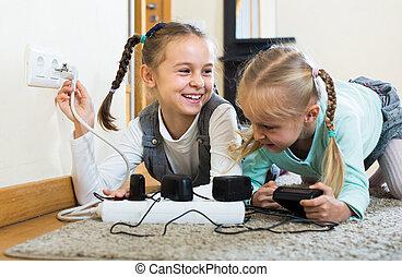interpretacja, wydrążenia, elektryczność, dzieci, być w domu