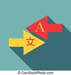 Interpretation icon, flat style