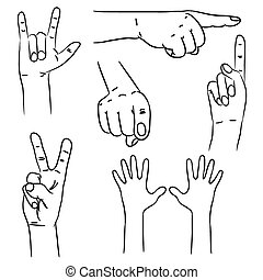 interpretations., différent, vecteur, illustration., mains